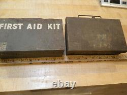 2 Vintage FIRST AID Davis Emergency Equipment Co Medical Kit Box with Supplies