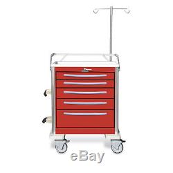 Aluminum Emergency Cart 5-Drawer with Accessory Pkg 42H 1 ea