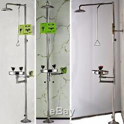Azzota Combination Emergency Station with SHOWER / EYEWASH with Stainless Steel