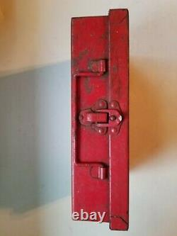 Vintage Davis Emergency Equipment Company First Aid Medical Kit Red Steel Box