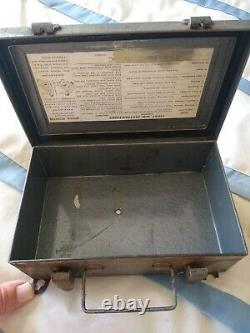 Vintage FIRST AID Davis Emergency Equipment Co Medical Kit Box with Supplies